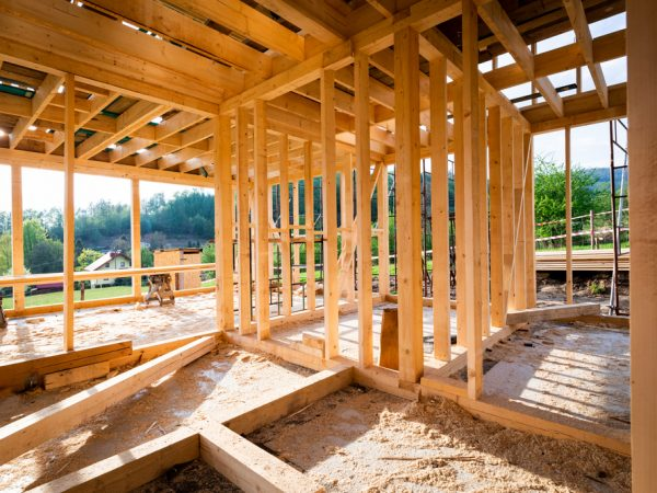 New,Interior,Residential,Wooden,Construction,House,Framing
